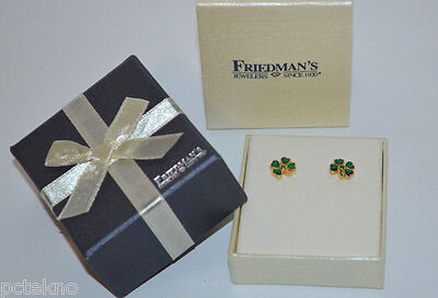 Shamrock Clover Mini Earrings Emerald Color Green 4 Leaf St Patrick Day Gift Box