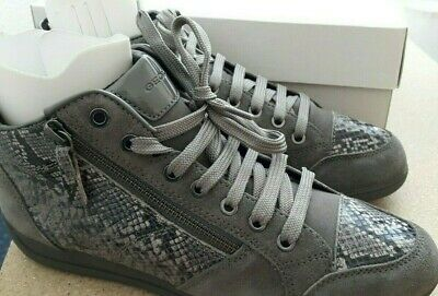 Damen Echtleder Hohe Sneaker Geox Myria Farbe: Grau Größe:40 Neu mit Karton