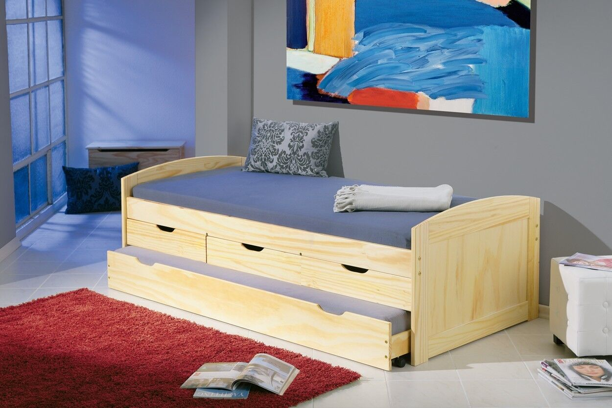 bett 90x200 cm kinderbett funktionsbett kojenbett g stebett natur schubladen neu eur 148 58. Black Bedroom Furniture Sets. Home Design Ideas