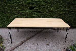 Hand made solid timber dining table with hairpin legs - 6 person Blackburn Whitehorse Area Preview