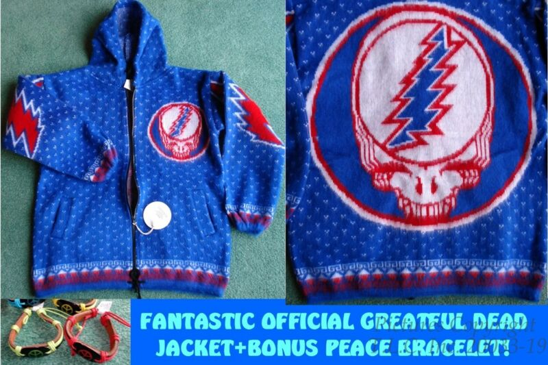"NWT HOODIE OFFICIAL ""STEAL YOUR FACE"" GRATEFUL DEAD SKULL JACKET-SZ=M +BRACELET"