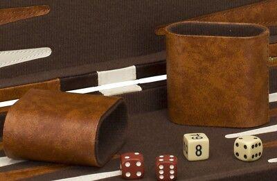 "11"" Classic Backgammon Set Brown White Faux Leather Portable Travel Folding Case"