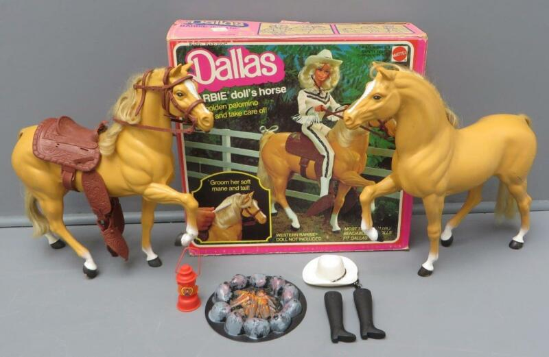Vtg Barbie Horse Dallas Golden Palomino Lot 2 + Box Hat Boots Saddle Mattel 3312
