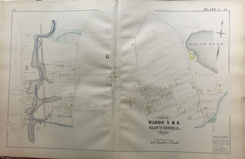 ORIG 1881 G.M. HOPKINS HAVERHILL, MA, HALES POND, R.C. CEMETERY, PLAT ATLAS MAP