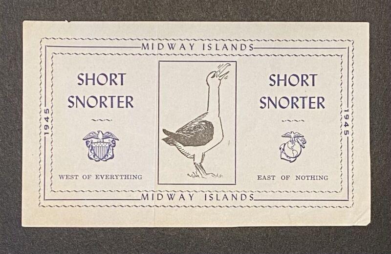 1945 Midway Island Short Snorter WWII Navy JICPOA RARE ORIGINAL Pacific