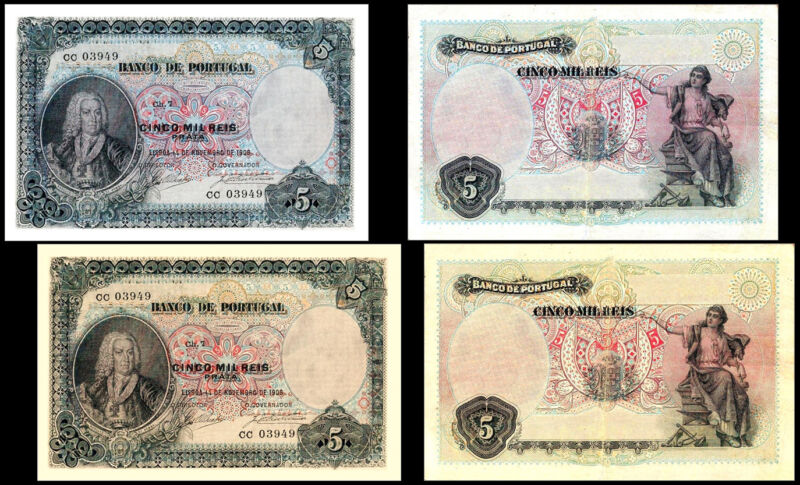 !COPY! 2 PORTUGAL 5 REIS 1906 BANKNOTES !NOT REAL!