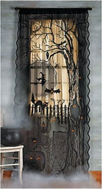 Spooky Creepy Scary Black Lace Lighted Halloween Window or Door ...