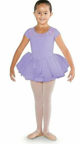 NWT Girls Bloch Tutu Leo Purple Lavender Leotard Built In Skirt Size 2/4 or 4/6