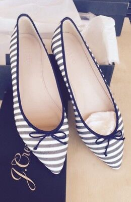 (J.Crew Gemma Flats Striped Navy Blue Ivory Size 8.5 Point Toe Bow Shoes  $148)