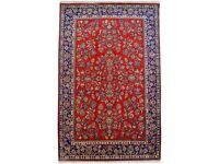 Hand-knotted Red Central Wool carpet in Pure wool and cotton