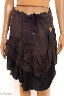 DIESEL Gray 100% Cotton Asymmetric Hem Hi Lo Draped Drawstring Waist Skirt S Diesel Cotton Skirt