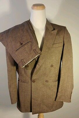 Vtg Raffinati 2 piece Double Breasted Brown Speckle Wool Suit Medium Rockabilly