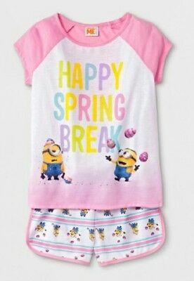 s Girls Happy Spring Break Pajama Short Set Size 6-6X Small (Dispicable Me Girls)