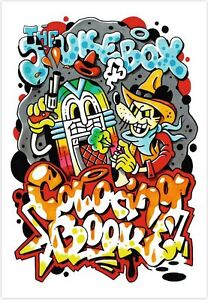 THE JUKEBOX COLOURING BOOK - GRAFFITI ART ILLUSTRATIONS OF CLASSIC MUSIC TRACKS