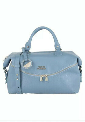 Versace Collection Pebble Leather Top Handle Handbag - Sky Blue