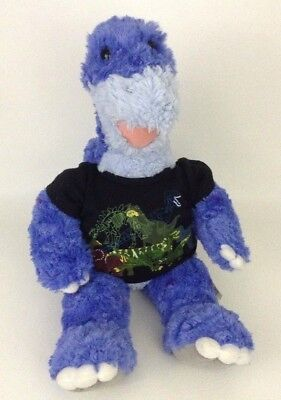 Build A Bear Workshop Blue Dinosaur w Dino Shirt Plush Stuffed Animal w Sounds