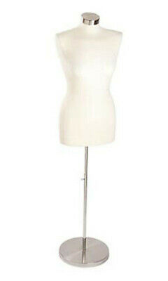 Economy Female Jersey Form In Off White With Wood Base