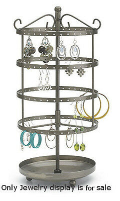 Steel Tiered Round Rotating Jewelry Display 13 Inches