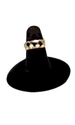 Black Velvet Single Finger Ring Display 2l X 2w X 1.25h On Round Base- Lot Of 10