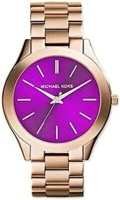 Michael Kors Slim Runway MK3293 Purple Dial Rose Gold Tone Women's Wrist Watch Gold Tone Rose Wrist Watch