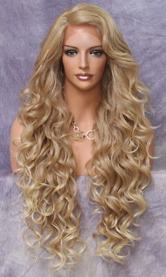 Human Hair Blend Mono Top Full Lace Front Wig Curly Blonde mix Heat OK WBPR