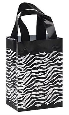 25 Zebra Print Frosted Plastic Handle Bags Gift Party Merchandise Retail 5x3x7