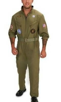 NEW Mens Plus Military Fighter Pilot Jumpsuit Top Gun Halloween Costume-size 1X - Mens Top Gun Costume