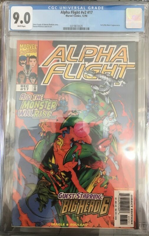Alpha Flight #17 CGC 9.0 Early Big Hero 6 Apperance Optioned Disney+ 1998 Marvel