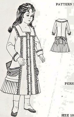 "10-11""ANTIQUE FRENCH JUMEAU  DOLL@1880's SQ.NECK COAT-DRESS PATTERN GERMAN CHILD"