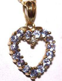 DAZZLING 9CT GOLD DIAMOND & AMETHYST NECKLACE MADE IN ENG HALLMARKED FAB WORK OF ART J4U2 ENJOY NOW