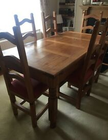Mexican Pine Dinning Table and Chairs