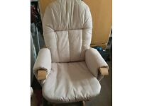 Tutti Bambini Glider Rocking Chair in natural with foot stool