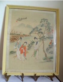 Antique Oriental Chinese Silk Painting Women In Garden