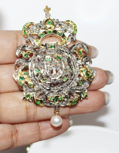3.50cts ROSE CUT DIAMOND EMERALD PEARL 925 SILVER ANTIQUE VICTORIAN LOOK  BROOCH