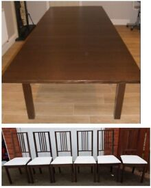 Ikea Bjursta Brown Extending Table 175cm - 260cm & 8 Borje Chairs FREE DELIVERY 629