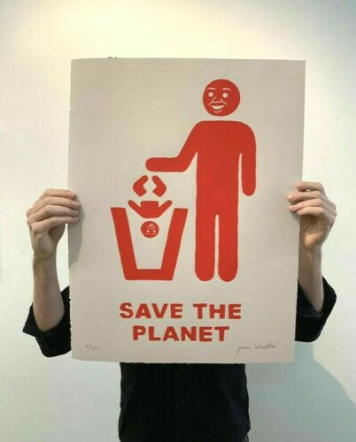 Save The Planet Joan Cornella Comic Art 18x24 Print Poster Recycle /100 MINT