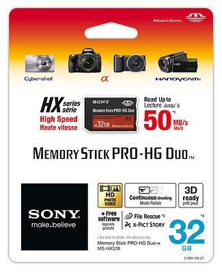 New Sony 32GB Memory Stick Pro Duo Pro-HG HX MSPD 50MB/s Free Software 32 GB 32G