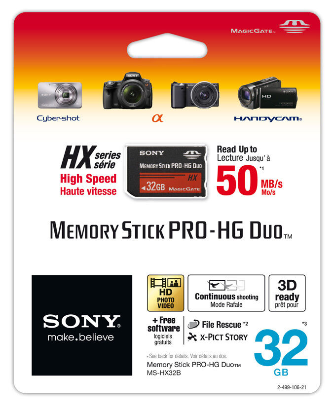 Sony 32gb Memory Stick Pro Duo Pro-hg Hx Mspd 50mb/s Free Software 32 Gb 32g