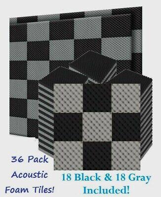 "36pk Premium Acoustic Foam Black Gray Egg Wall Tiles Soundproofing 12""x12""x1.5"""