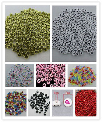 Wholesale 100-500pcs 4x7mm Mixed Alphabet/Letter Coin Round Flat Spacer Beads