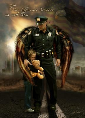 The Difference Between Us By Jason Bullard Art Print Police Officer Poster 14X19