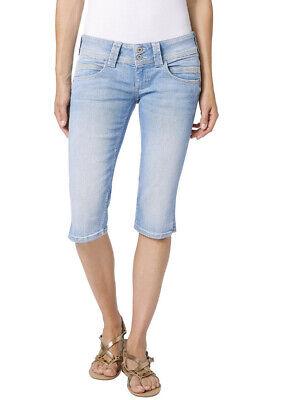 PEPE Jeans VENUS CROP Capri Hose Kniehose Shorts hellblau ME2 Stretch Denim NEU - Stretch Crop Hose
