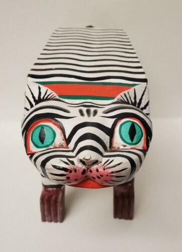 Folk Art Black White Stripes Cat Wood Made In Indonesia Plant Book Shelf Unique