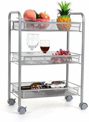 3-Tier Kitchen Cart on Wheels Mesh Wire Rolling Cart Silver Storage Bins -