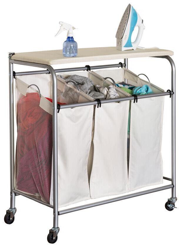 Rolling Laundry Basket Hamper Cart  3 Bin Sorter Bag with Ir