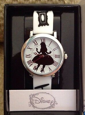NEW DISNEY ALICE IN WONDERLAND WATCH BLACK WHITE SILHOUETTE ADULT SIZE PRETTY