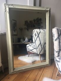 Large Vintage Ornate Plaster Painted Bevelled Edge Mirror