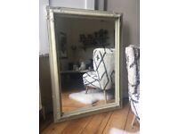 Large Vintage Ornate Plaster Painted Bevelled Edge Mirror