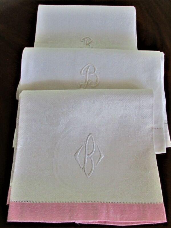 """3 ANTIQUE VINTAGE """"B"""" INITIAL LINEN HAND BATH TOWELS EXCELLENT CONDITION"""