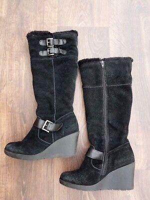 "Womens khombu Knee High Boots Black Suede & Fur 3"" Block Heel SIZE UK 4 EU 36.5"